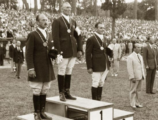 The individual eventing medalists at the Rome Olympics: 1st Lawrence Morgan (AUS), 2nd Neale Lavis (AUS), 3rd Anton Bühler (SUI).