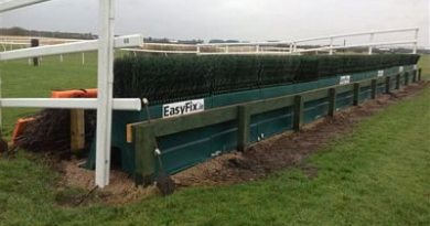 The Canal Turn at Aintree Racecourse, with EasyFix frames and plastic birch installed, ready for dressing with spruce.