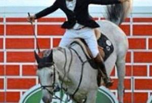 Daniel Bluman celebrates winning the puissance at Dublin on Clyde.