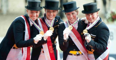 Germany won the Blue Hors FEI European Dressage Team Championship 2013 in Herning, Denmark. Pictured on medal podium are team-members (L-R) Fabienne Lutkemeier, Kristina Sprehe, Helen Langehanenberg and Isabell Werth.