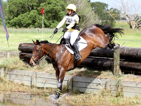 Angela Lloyd and Song, who jumped to the lead of New Zealand's Eventing Super League following their win at the national One-day-event championships in Canterbury at the weeked. They are pictured at the Arran Station Horse Trials.