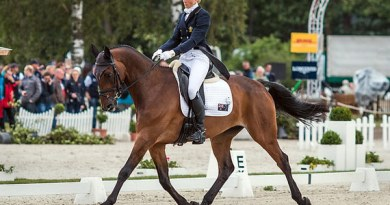 Lucinda Fredericks (AUS) and Flying Finish, leaders after the dressage phase at Luhmühlen.
