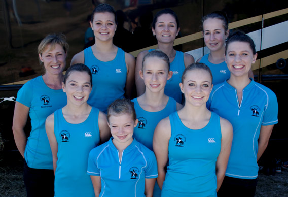 The Kapiti Vaulting Team, back from left, Catarina Strom (Coach), Rhyanne Vasta, Brooke Dunstan, and Evangeline Goldie; Middle: Grace Williamson, Jennifer Ponne, and Georgi Curran. Front: Danielle Schwabe and Lily-Claire Palmer.