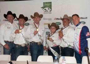 The US reining team enjoy their time on the podium.
