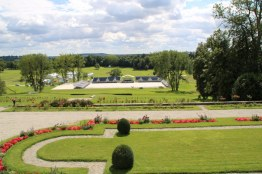 The arena for the dressage phase of the eventing competition is ready and waiting.
