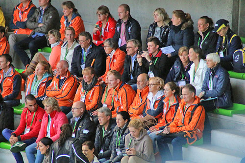 Dutch supporters keep a close eye on Adelinde and Parzival.