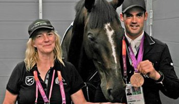 Frances Stead with Jonathan Paget and Clifton Promise after their team bronze medal winning performance at the London 2012 Olympics.