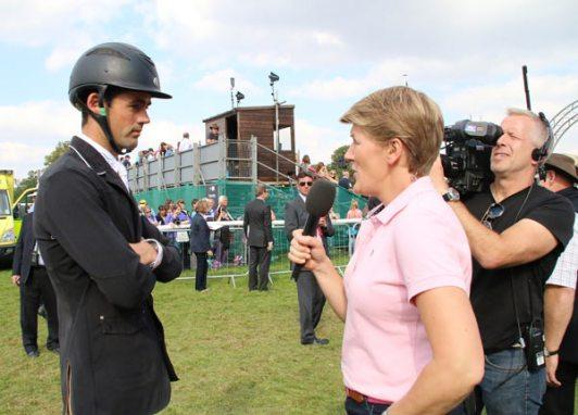 Jock Paget being interviewed by Clare Balding during WEG.