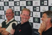 Course designer Mark Mark Phillips, with Oliver Townend and Andrew Nicholson at the post-cross-country press conference.