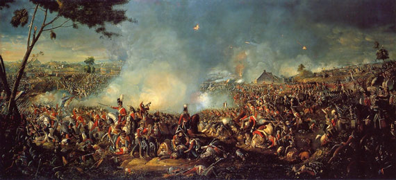 A painting of the 1815 Battle of Waterloo by Irish painter William Sadler II, who died in 1839.