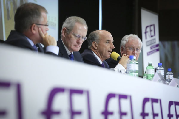 The panellists at the Jumping Session at the FEI Sports Forum 2015. From left are FEI Jumping Committee member Stephan Ellenbruch, FEI jumping director John Roche, Jumping Committee chairman John Madden, and Sports Forum moderator Richard Nicoll. Photo: Germain Arias-Schreiber/FEI