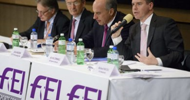 International Olympic Committee sports director Kit McConnell, right, addresses the FEI Sports Forum, in Switzerland last month.