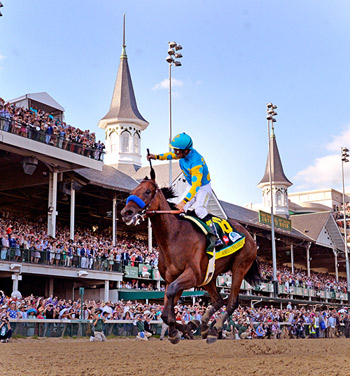 American Pharoah pictured winning the Kentucky Derby on May 2.
