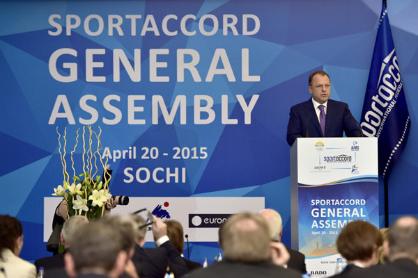 Marius Vizer addresses SportAccord delegates in Sochi, Russia. Photo: SportAccord