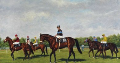 """Reeves' painting, """"Northern Dancer"""", carries a pre-auction estimate of $US15,000 to $US20,000. Photo: Christie's"""