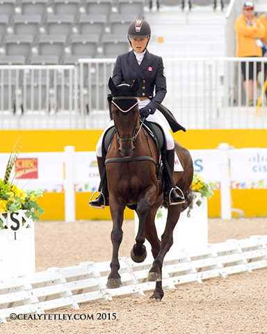 Kathryn Robinson and Let It Bee are currently second after the dressage phase, in their major games debut.