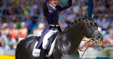 Matthias Alexander Rath and Totilas after their victory in the MEGGLE Prize at the CHIO Aachen 2014.