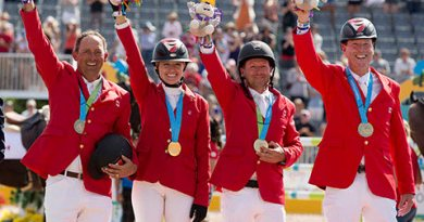 The Canadian Show Jumping Team of Yann Candele, Tiffany Foster, Eric Lamaze and Ian Millar won the gold medal at the Toronto 2015 Pan American Games.