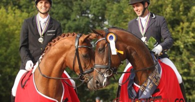 Reserve World Champion Fiontina, left, with Andreas Helgstrand, and World Champion Five-Year-Old Fiontini, with Severo Jesus Jurado Lopez.