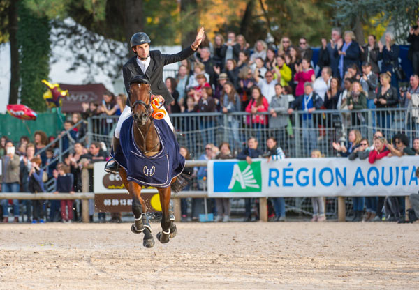 Astier Nicolas enjoys his victory lap on Piaf de B'neville after winning his first CCI4*, on home ground at Les 4 Etoiles de Pau.