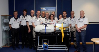 The Vets with Horsepower Team 2015 being presented with the X-ray machine from BCF Technology.