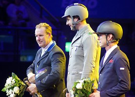 Prizegiving for CSI4* - 1st Emanule Gaudiano (ITL), 2nd William Funnell (GBR) and 3rd Peder Fredricson