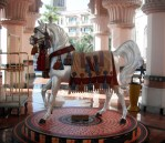 An arabian horse in authentic costume greets visitors to Al Qasr.