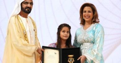 Sheikh Mohammed Bin Rashid Al Maktoum presents the Local Sports Figure award to Princess Haya at the seventh edition of the Creative Sports Awards.
