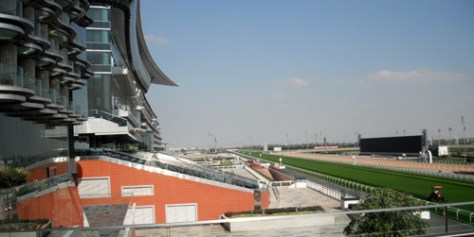 The main grass track at Meydan is given a final manicure before racing the next day.