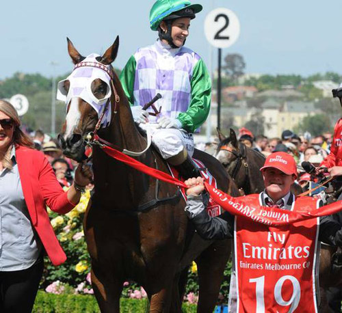 Michelle Payne rides Prince of Penzance back to scale after winning the Melbourne Cup last November.