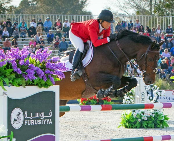 Beezie Madden and Breitling LS, from Team USA, winners of the Furusiyya FEI Nations Cup 2016 at HITS Post Time Farm on Friday.