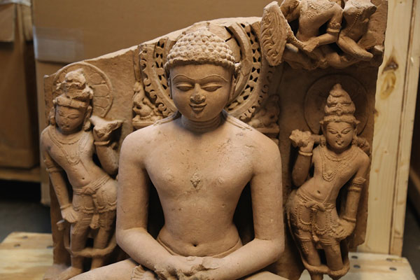 Rishabhanata depicted in sandstone. The work is said to be woth about $US150,000.