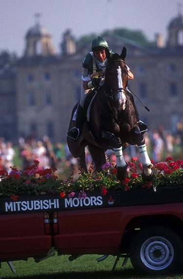 Mary (Thomson) King and King William  on their way to winning the first Mitsubishi Motors Trophy at Badminton.