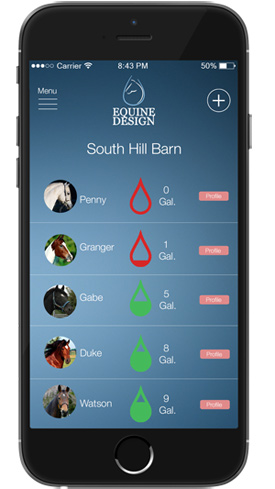 Horse owners can monitor each horse's intake using a mobile app.