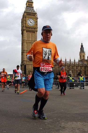 Fritz Kundrun running the London Marathon to raise awareness for Brooke USA.