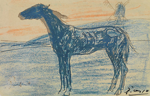 The Horse, by Pablo Picasso, crayon and ink on paper, from the Mellon Collection.