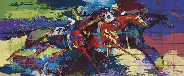 """Leroy Neiman's """"Flat Racing"""", a high-temperature glazed ceramic tile mural, of84"""" x 204"""", fetched the top price of $291,000 at the 2013 Sporting Art Auction."""
