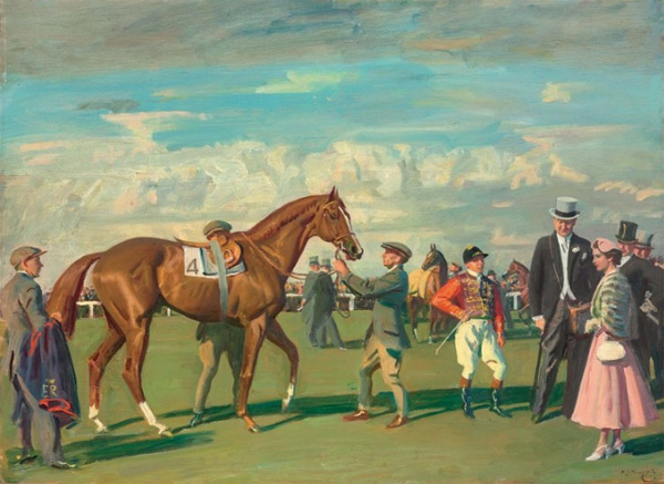 "Sir Alfred Munnings' painting ""H.M. The Queen and 'Aureole' in the Paddock at Epsom before the Coronation Cup at the Derby meeting, 1954"". It is to be sold at Christie's ""Defining British Art"" sale later this month."
