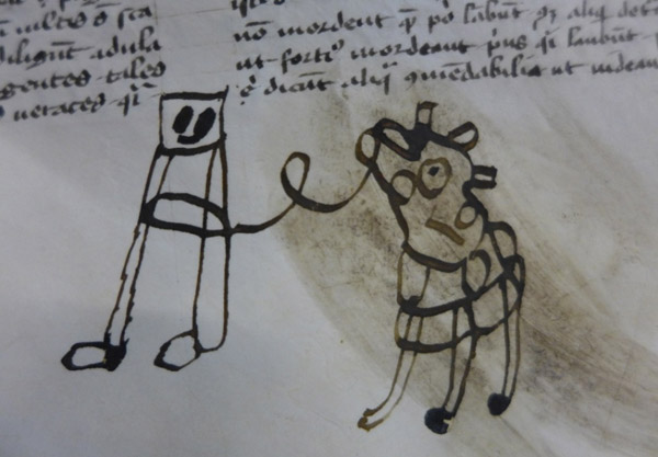 A person leads a horse or a cow in this centuries-old doodle by a child. Credit: Figure 1: LJS 361, Kislak Center for Special Collections, Rare Books and Manuscripts, University of Pennsylvania Libraries folio 26r.