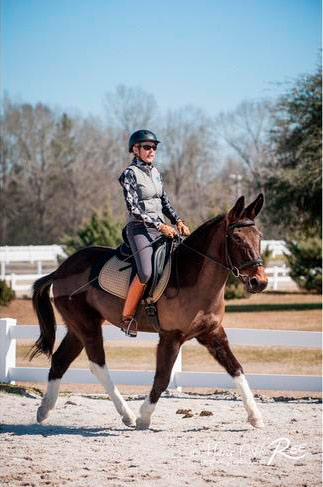 Vicky Busch and Slate at his first outing, at the Amen Corner Schooling Show in February 2016.