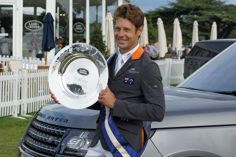 Christopher Burton with the Burghley Horse Trials trophy. © Mike Bain