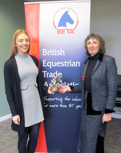 Alison Brassil being presented with her award for BETA Equine Thesis of the Year by judging panel chair Dr Pat Harris.