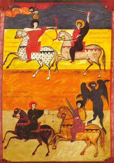 Horsemen of the Apocalypse on the Beato de Fernando I y doña Sancha dated 1047 AD (Apoc. VI, 1–8f. 135; shelf 14-2 National Library, Madrid; via Wikimedia Commons