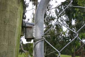 The best chain and padlock in the world will be little use if thieves can lift the gate off its gudgeons at the other end. Either reverse the top gudgeon, as shown here, or weld on plates to stop the gate being lifted off.