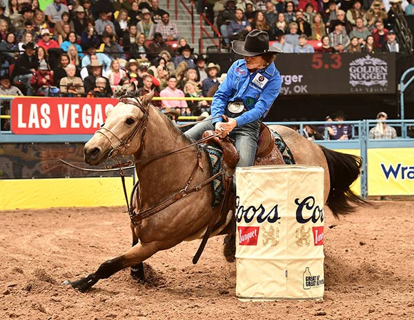 Mary Burger and Mo in action at the National Finals Rodeo in Nevada.