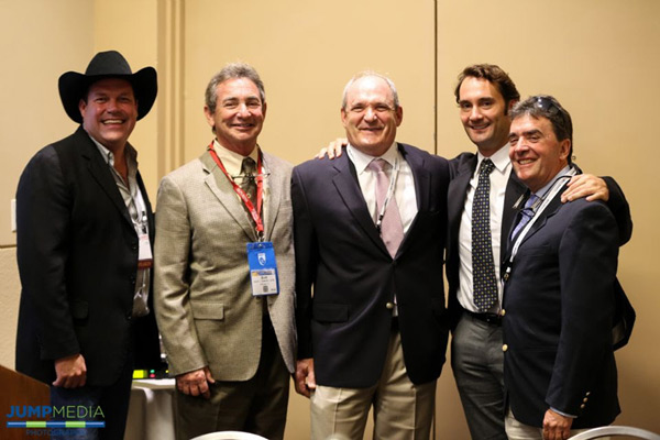 Brandon Ames, CEO of AniCell BioTech, with Palm Beach Equine Clinic veterinarians Scott Swerdlin, Robert Brusie, Richard Wheeler, and Jorge Gomez,at the Equine World Stem Cell Summit.