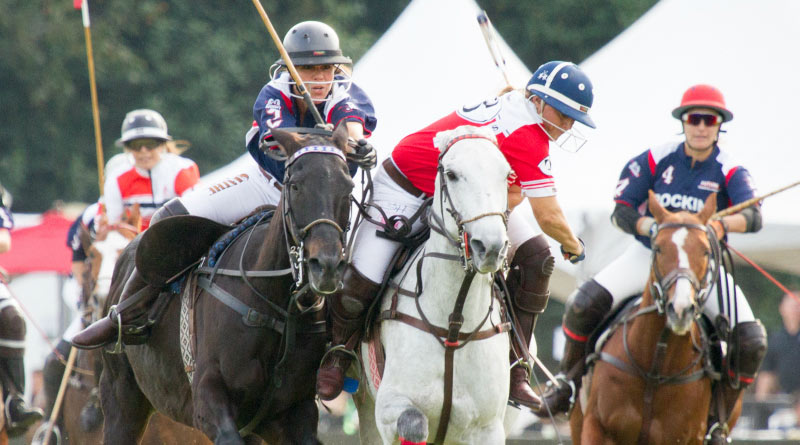Sunny Hale, in red and white, competing in the 2016 US Open Women's Polo Championship.