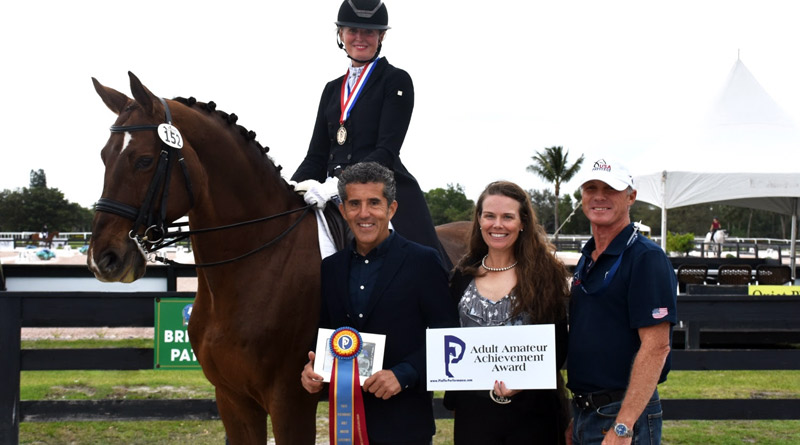 Piaffe Performance Adult Amateur Achievement Award winner Ann Romney, riding Dalhems Diomedes, with Dr Cesar Parra and Katie Riley of Piaffe Performance, and Romney' trainer Jan Ebeling  at the Adequan Global Dressage Festival.