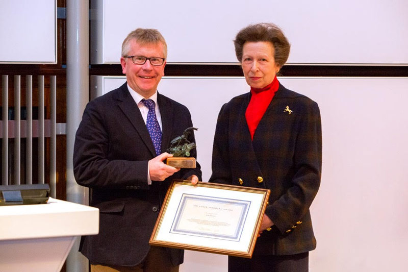 Professor Josh Slater receiving the Sir Colin Spedding Award on behalf of Jim Green, presented by HRH The Princess Royal, President of the National Equine Forum last week.