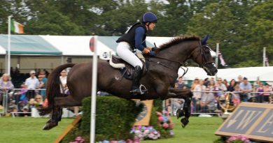 Allison Springer and Arthur in action at Burghley Horse Trials in Great Britain in 2012.